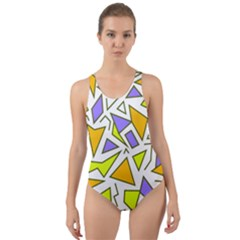 Retro Shapes 04 Cut Out Back One Piece Swimsuit by jumpercat