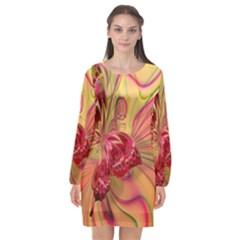Arrangement Butterfly Aesthetics Long Sleeve Chiffon Shift Dress  by Celenk