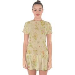 Floral Wallpaper Flowers Vintage Drop Hem Mini Chiffon Dress by Celenk
