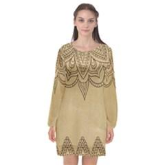 Vintage Background Paper Mandala Long Sleeve Chiffon Shift Dress  by Celenk