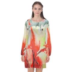 Fabric Texture Softness Textile Long Sleeve Chiffon Shift Dress  by Celenk