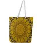 Pattern Petals Pipes Plants Full Print Rope Handle Tote (Large)
