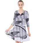 Animal Fish Ocean Sea Quarter Sleeve Front Wrap Dress
