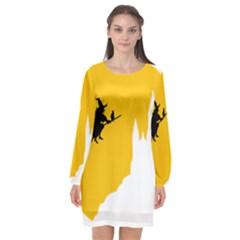 Castle Cat Evil Female Fictional Long Sleeve Chiffon Shift Dress
