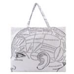 Brain Chart Diagram Face Fringe Zipper Large Tote Bag