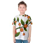 Flower Branch Nature Leaves Plant Kids  Cotton Tee