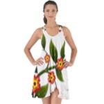 Flower Branch Nature Leaves Plant Show Some Back Chiffon Dress