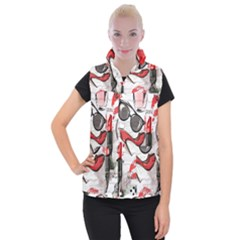 Cosmetic Pattern Women s Button Up Puffer Vest by OregonBigfootShirts
