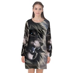 Angry Lion Digital Art Hd Long Sleeve Chiffon Shift Dress  by Celenk