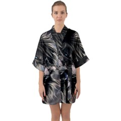 Angry Lion Digital Art Hd Quarter Sleeve Kimono Robe by Celenk