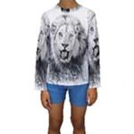 Lion Wildlife Art And Illustration Pencil Kids  Long Sleeve Swimwear