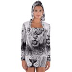 Lion Wildlife Art And Illustration Pencil Long Sleeve Hooded T-shirt