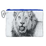 Lion Wildlife Art And Illustration Pencil Canvas Cosmetic Bag (XL)