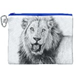 Lion Wildlife Art And Illustration Pencil Canvas Cosmetic Bag (XXL)
