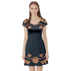 Floral Vintage Royal Frame Pattern Short Sleeve Skater Dress
