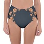 Floral Vintage Royal Frame Pattern Reversible High-Waist Bikini Bottoms