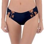 Floral Vintage Royal Frame Pattern Reversible Classic Bikini Bottoms