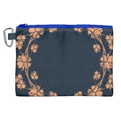 Floral Vintage Royal Frame Pattern Canvas Cosmetic Bag (xl)