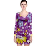 Floral Flowers Long Sleeve Bodycon Dress