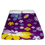 Floral Flowers Fitted Sheet (Queen Size)