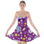 Floral Flowers Strapless Bra Top Dress
