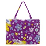 Floral Flowers Zipper Medium Tote Bag