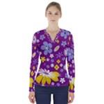 Floral Flowers V-Neck Long Sleeve Top