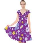 Floral Flowers Cap Sleeve Front Wrap Midi Dress