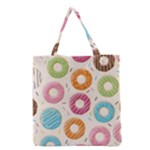Colored Doughnuts Pattern Grocery Tote Bag
