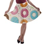 Colored Doughnuts Pattern A-line Skater Skirt