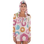Colored Doughnuts Pattern Long Sleeve Hooded T-shirt