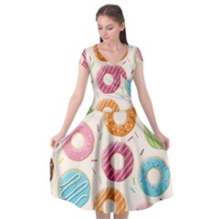 Colored Doughnuts Pattern Cap Sleeve Wrap Front Dress by allthingseveryday