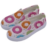 Colored Doughnuts Pattern Kids  Canvas Slip Ons