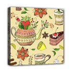 Colored Afternoon Tea Pattern Mini Canvas 8  x 8