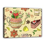 Colored Afternoon Tea Pattern Canvas 16  x 12