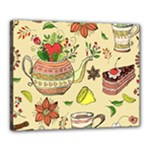 Colored Afternoon Tea Pattern Canvas 20  x 16
