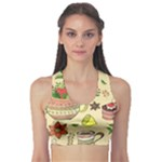 Colored Afternoon Tea Pattern Sports Bra