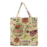 Colored Afternoon Tea Pattern Grocery Tote Bag