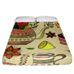 Colored Afternoon Tea Pattern Fitted Sheet (Queen Size)