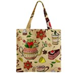 Colored Afternoon Tea Pattern Zipper Grocery Tote Bag