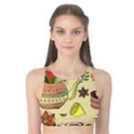 Colored Afternoon Tea Pattern Tank Bikini Top