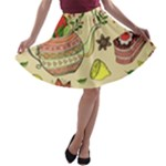 Colored Afternoon Tea Pattern A-line Skater Skirt