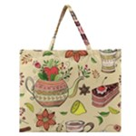 Colored Afternoon Tea Pattern Zipper Large Tote Bag