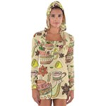 Colored Afternoon Tea Pattern Long Sleeve Hooded T-shirt