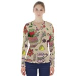 Colored Afternoon Tea Pattern V-Neck Long Sleeve Top