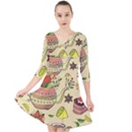 Colored Afternoon Tea Pattern Quarter Sleeve Front Wrap Dress