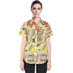 Colored Afternoon Tea Pattern Women s Short Sleeve Shirt