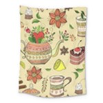 Colored Afternoon Tea Pattern Medium Tapestry