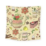 Colored Afternoon Tea Pattern Square Tapestry (Small)