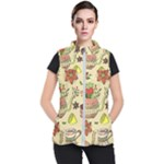 Colored Afternoon Tea Pattern Women s Puffer Vest